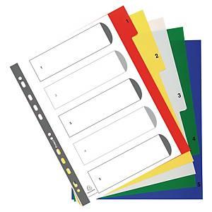 Exacompta numerieke tabbladen en indexblad, A4+, PP, 11-gaats, per 5 tabs
