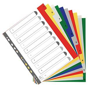 Exacompta numerieke tabbladen en indexblad, A4+, PP, 11-gaats, per 10 tabs