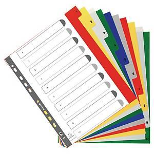Exacompta tabbladen in PP A4+ 1-10 tabs assorti kleuren