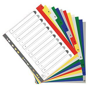 Exacompta Polypropylene Printed A4 Maxi Indices 12 Part (1-12) Coloured Tabs