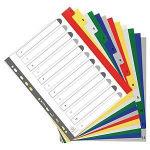 Exacompta 1-12 rozdeľovače PP, farebné, A4+