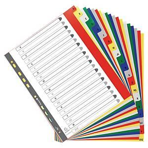 Exacompta alfabetische tabbladen A-Z, A4+, PP, assorti, 11-gaats, per set