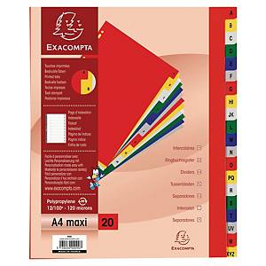 Exacompta dividers in PP A4+ 26 tabs A-Z assorted colours