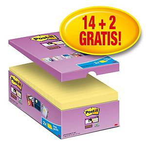 Pack promo Post-it® Super Sticky Notes 655-P16, jaune, 76x127 mm, 14+2 GRATUITS