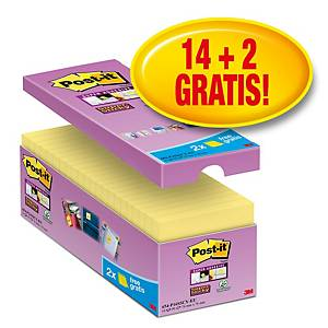 Pack promo Post-it® Super Sticky Notes 654-P16, jaune, 76 x 76 mm, 14+2 GRATUITS