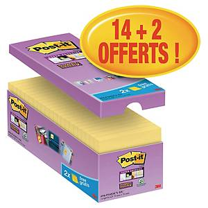 Notes Post-it Super Sticky - 76 x 76 mm - jaunes - 16 blocs x 90 feuilles
