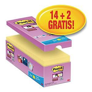 Post-it Super Sticky Zestaw Promocyjny 14+2 Gratis,Żółte,76x76mm,16x90karteczek