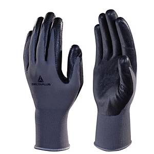 Deltaplus VE722 Foam Nitrile Palm Gloves - Black/ Grey -  Size 8