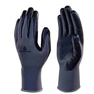 Deltaplus VE722 Foam Nitrile Palm Gloves - Black/ Grey - Size 9