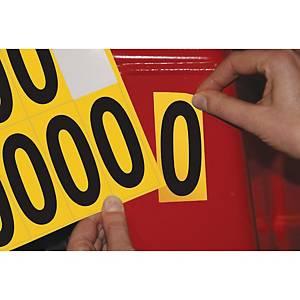 Chiffre adhésif 0 - 75 mm - noir/jaune - carte de 10