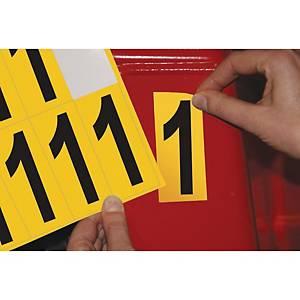 Chiffre adhésif 1 - 75 mm - noir/jaune - carte de 10