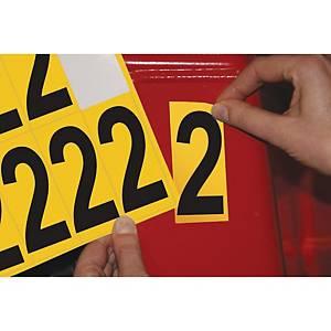 Chiffre adhésif 2 - 75 mm - noir/jaune - carte de 10