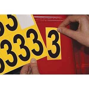 Chiffre adhésif 3 - 75 mm - noir/jaune - carte de 10