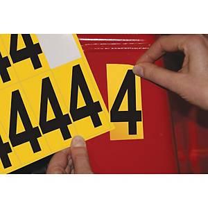 Chiffre adhésif 4 - 75 mm - noir/jaune - carte de 10