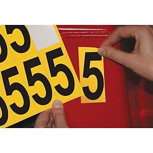 Chiffre adhésif 5 - 75 mm - noir/jaune - carte de 10