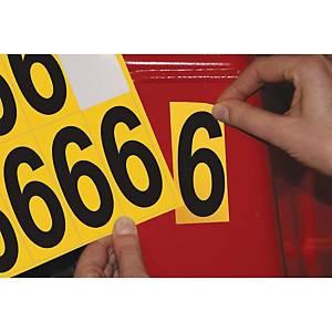 Chiffre adhésif 6 - 75 mm - noir/jaune - carte de 10