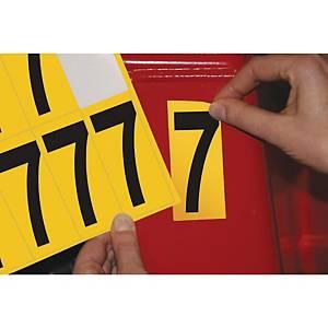 Chiffre adhésif 7 - 75 mm - noir/jaune - carte de 10