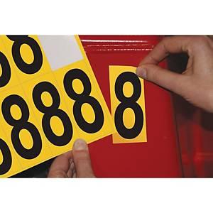 Chiffre adhésif 8 - 75 mm - noir/jaune - carte de 10