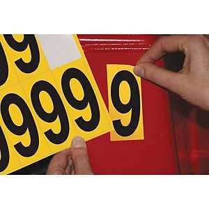 Chiffre adhésif 9 - 75 mm - noir/jaune - carte de 10