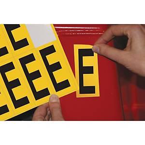 Lettre adhésive E - 75 mm - noir/jaune - carte de 10