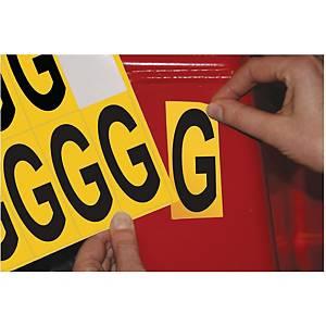Lettre adhésive G - 75 mm - noir/jaune - carte de 10