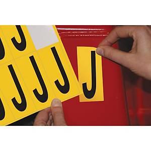 Lettre adhésive J - 75 mm - noir/jaune - carte de 10
