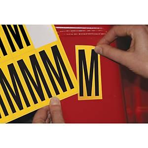 Lettre adhésive M - 75 mm - noir/jaune - carte de 10