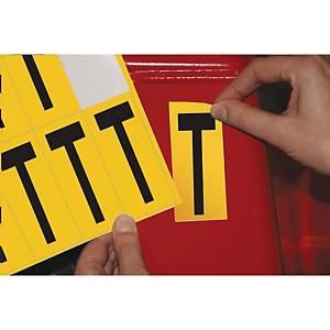 Lettre adhésive T - 75 mm - noir/jaune - carte de 10