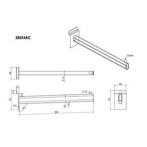 Slatwall Forward Arm 300mm Chrome Barnardos