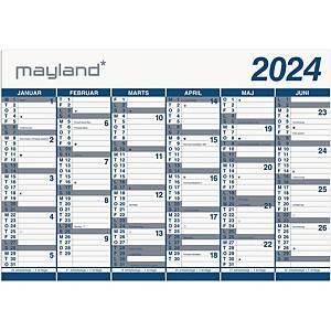 Vægkalender, 0654 00, 2 x 6 måneder, 2021, 100 x 70 cm, pp, blå