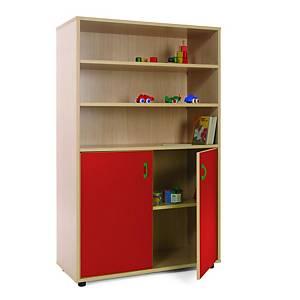 Móvel com estantes e armário com portas vermelhas