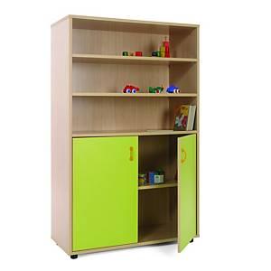 Móvel com estantes e armário com portas verdes