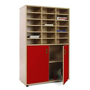 Móvel com divisões e armário com portas vermelhas