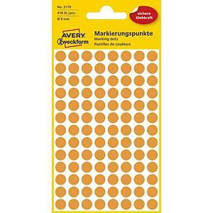 Markierungspunkte Avery Zweckform 3178, Ø 8mm, leuchtorange, 416 St