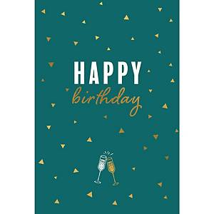 Greeting card happy birthday glasses - pack of 6
