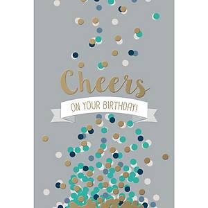 Wenskaarten gelukkige verjaardag-cheers, pak van 6 kaarten
