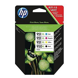 HP 950XL Black/951XL Cyan/Magenta/Yellow 4-Pack Original Ink Cartridges C2P43AE