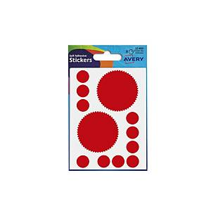 ADHESIVE LABELS 50MM DIA - COMPANY SEAL - RED - PACK OF 8