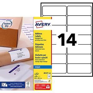 Etiquette adresse Avery - J8163-100 - 99,1 x 38,1 mm - blanche - par 1400
