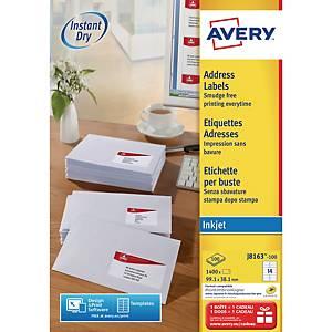 Avery J8163 étiquettes imprimantes jet d encre 99,1x38,1mm - boite de 1400