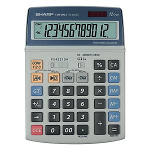 Tischrechner Sharp EL-2125C, 12stellig, Solar-/Batteriebetrieb, grau