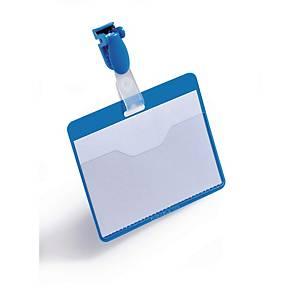 Porte-nom Durable 8106-06, 60x90 mm, avec clip, paysage, bleu, pack de 25 pièces