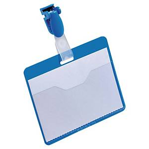 Durable Visitor Badges 60 X 90mm Plastic Clip - Blue - Box of 25