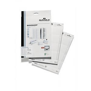 Cartes à insérer pour badge Durable 1456, 60 x 90 mm, 8/feuille, boîte de 160