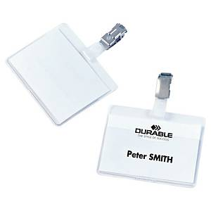 Durable Visitor Badges 60 X 90Mm Metal Clip - Clear - Box Of 25