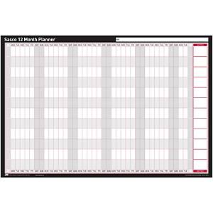 Sasco Undated 12 Month Mounted Planner 914 X 610mm