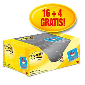 Pack promo Post-it® Notes 653Y20, jaune canari, 38 x 51 mm, 16+4 blocs GRATUITS