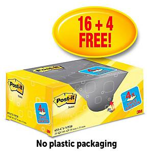 Post-It  Value Pack Notes 38X51mm Yellow Pk20