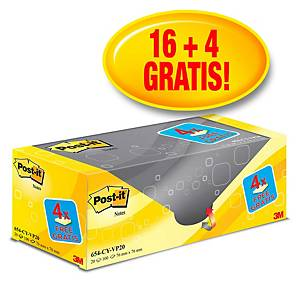 Pack promo Post-it® Notes 654Y20, jaune canari, 76 x 76 mm, 16+4 blocs GRATUITS
