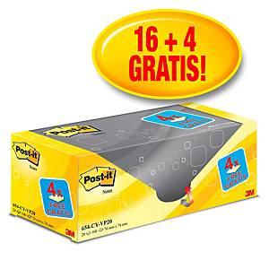 Post-it® Notes voordeelpak 654Y20, kanariegeel, 76 x 76 mm, 16+4 blokken GRATIS